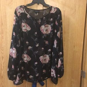 Black and Pink Floral Blouse